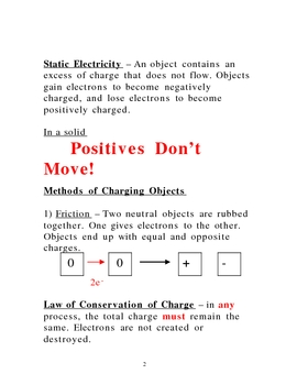 Lecture Notes on Static Electricity