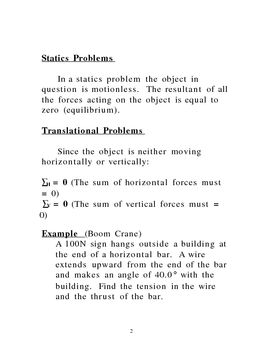 Lecture Notes on Statics