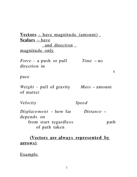 Lecture Notes on Vectors