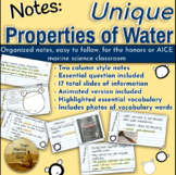 Lecture Notes: Water's Structure, and The Unique Propertie