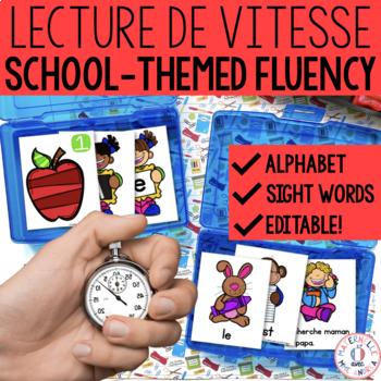 Lecture de vitesse - À l'école (FRENCH School Fluency Practice) - EDITABLE