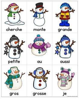 Lecture de vitesse - bonhommes de neige (FRENCH Fluency Practice) - EDITABLE