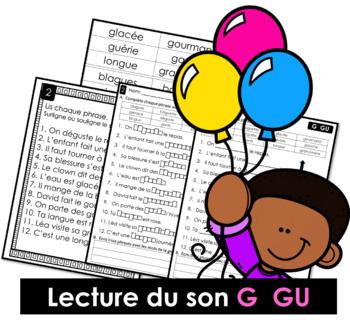 Lecture du son G  GU - Lis, surligne ou souligne, complète et écris