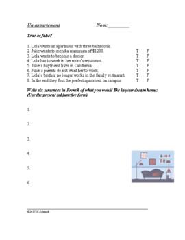 Lecture en français - French Reading Apartment Hunt (conditionnel et subjonctif)
