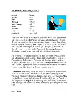 Lecture en français - French Reading with Comparatives / Comparatifs