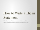 Lecture on How to Write a Thesis Statement--Includes examples