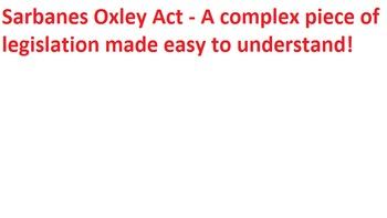 Lecture slides & handout notes on Sarbanes Oxley Act