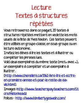 Lecture-texte à structures répétées-mots usuels
