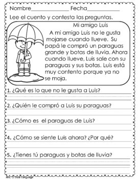 Short Reading Comprehension Passages in Spanish APRIL