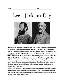 Lee Jackson Day - Virginia Holiday History Facts Questions activities