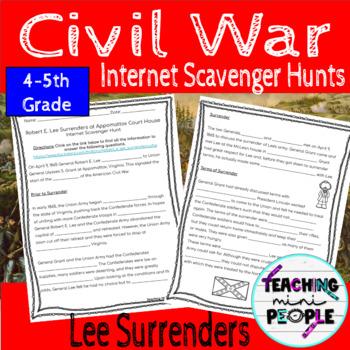 Lee Surrenders at Appomattox Internet Scavenger Hunt - Civil War