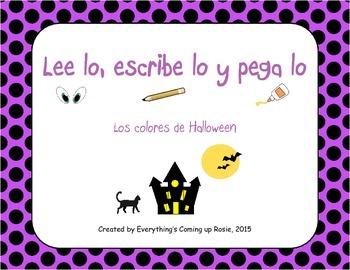 FREEBIE Lee, escribe y pega - Halloween.  Read it, Write i