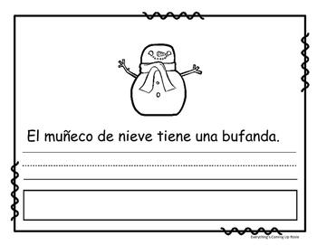 Lee, escribe y pega - el muñeco de nieve.  Read it, Write it, Glue it in Spanish