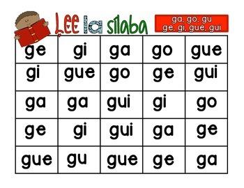 Lee la sílaba ga, go, gu, ge, gi, gue, gui