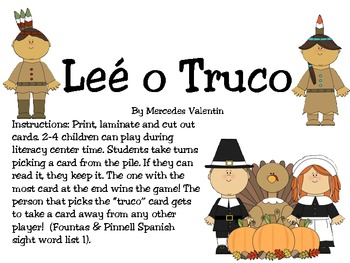 Lee o Truco! A Thanksgiving Sight Word Game