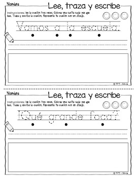 Leo y escribo oraciones - Lee, traza y escribe