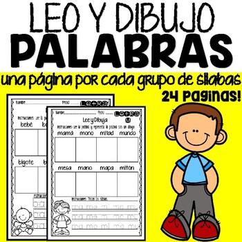 Leo y Dibujo Palabras Páginas de Actividad