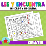 Lee y encuentra!!!  Read and find SPANISH!! Script and Cursive