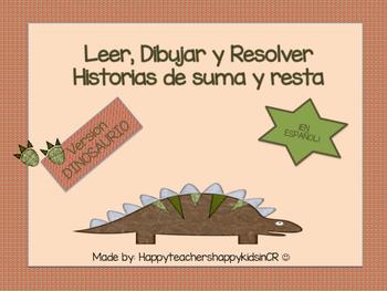 Leer, Dibujar y Resolver Historias de números ¡EN ESPAÑOL! version dinosaurio