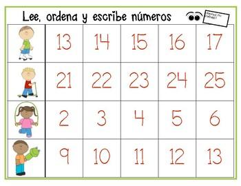 Leer, ordenar y escribir números del 0 al 25