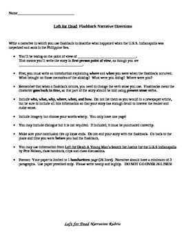 Left For Dead novel - Flashback Narrative Writing Assignment with Rubric