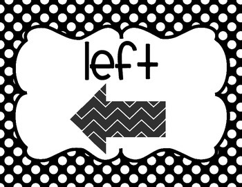 Left, Right, Above, Below Display Signs - Black and White Theme