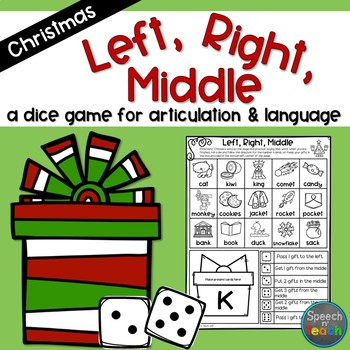 Left, Right, Middle: A Dice Game for Speech/Language Therapy- Christmas Edition