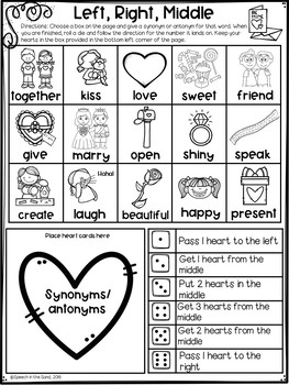 Left, Right, Middle: A Dice Game for Articulation- Valentine Edition