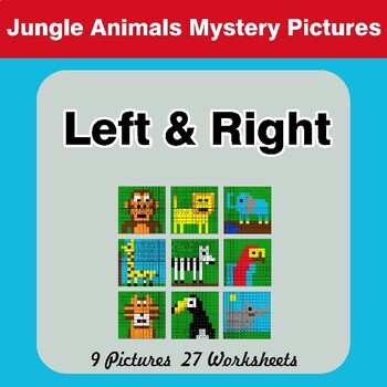 Left & Right side - Color by Emoji - Mystery Pictures - Jungle Animals