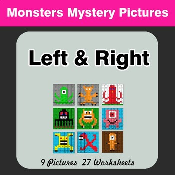 Left & Right side - Color by Emoji - Mystery Pictures - Monsters