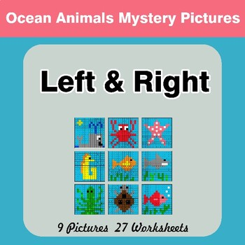 Left & Right side - Color by Emoji - Mystery Pictures - Ocean Animals