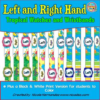 Left and Right Hand Orientation Watches and Wristbands - Tropical Theme