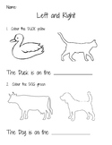 Left and Right Worksheet for Kindergarten
