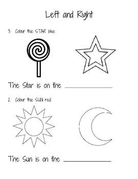 Left and Right Worksheet for Kindergarten