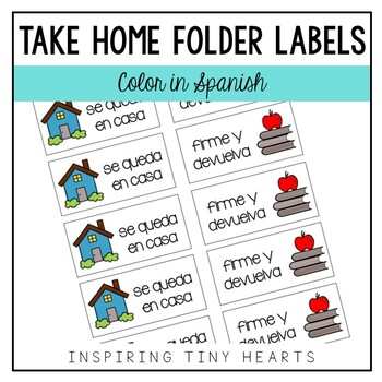 Left at Home & Right Back to School - Take Home Folder Labels IN SPANISH