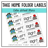 Left at Home & Right Back to School - Take Home Folder Labels- School/Color