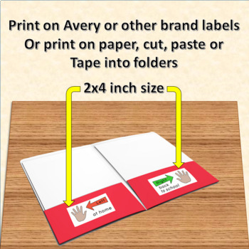Left at home Right back to school Labels for Take Home Folders (HANDS)