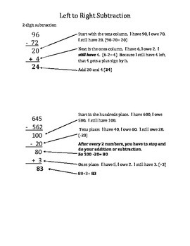 Left to Right Addition and Subtraction Parent Info Sheets