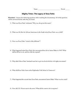 Legacy of Rosa Parks Notes Sheet
