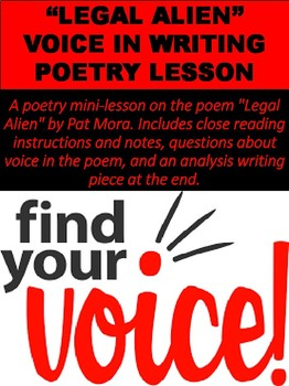 """""""Legal Alien"""" Voice In Writing Poetry Lesson"""
