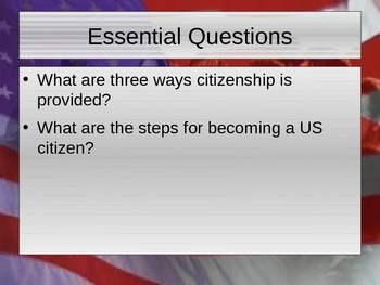 Legal Basis for Citizenship in the United States PowerPoint