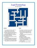 Legal Terms Crossword Puzzle