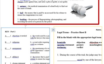Legal Terms - vocabulary word list - government - mock trial