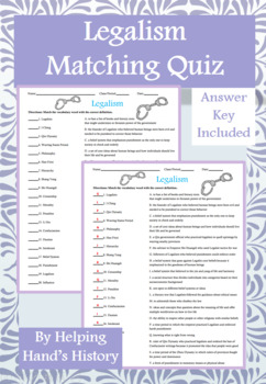 Legalism Activity Matching with Answer Key