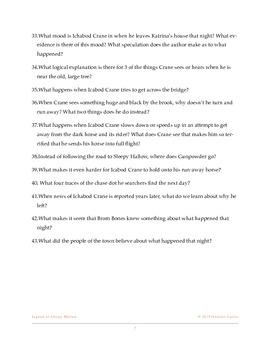 Legend of Sleepy Hollow Novel Study