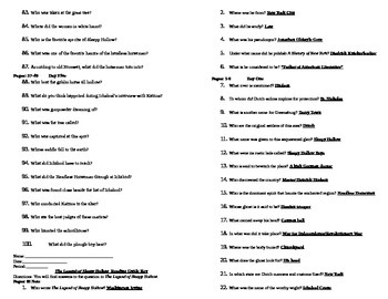 Legend of Sleepy Hollow Reading Guide with Answer Key