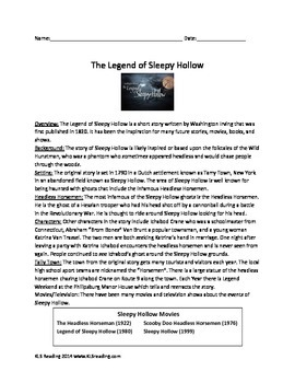 Legend of Sleepy Hollow - Review Article - Questions Vocabulary Activities