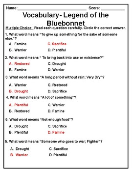 Legend of the Bluebonnet Vocabulary Test