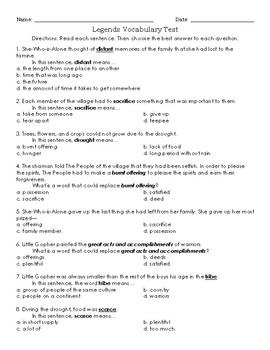 Legends Vocabulary Test