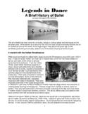 Legends in Dance - History of ballet
